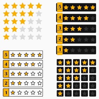 Barre de classement par étoiles. ensemble d'éléments pour l'interface de conception du site web ou de l'application. illustration vectorielle.