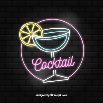 Barre de cocktail signe avec un style néon