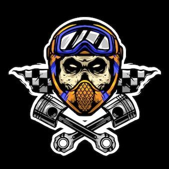 Barre de crâne et google avec logo de piston