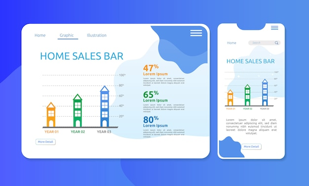 Barre graphique pour la vente de maisons ou de biens immobiliers en affichage web et mobile
