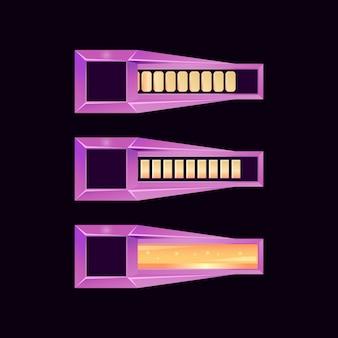 Barre de jeu fantastique avec divers effets de barre pour les éléments de l'interface utilisateur du jeu