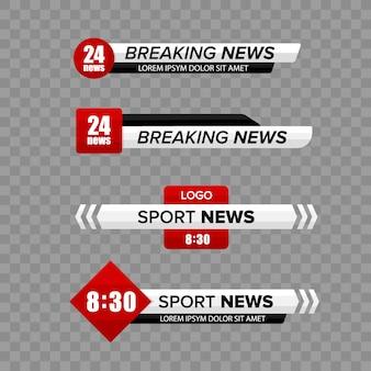 Barre de nouvelles tv. ensemble de bars de nouvelles télévisées du tiers inférieur. bannière de titre de médias de diffusion télévisée.
