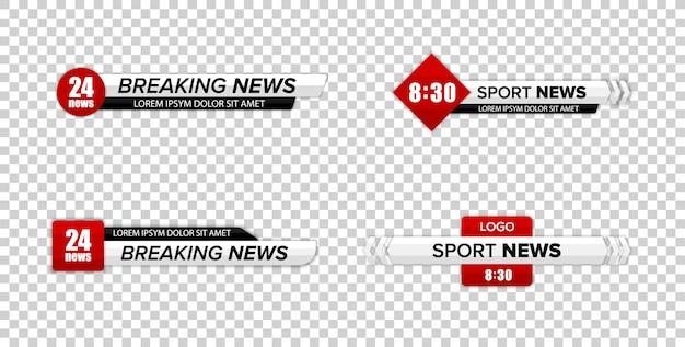 Barre de nouvelles tv. tiers inférieur tv news bars set vector. bannière de titre de médias de diffusion télévisée.