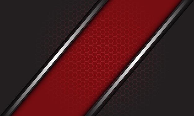 La barre oblique de la ligne d'argent rouge gris abstrait chevauche l'arrière-plan de la maille hexagonale