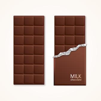Barre de paquet de chocolat au lait vierge. illustration vectorielle