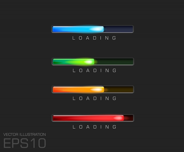 Barre de progression et chargement de différentes couleurs sur un fichier de fond noir.