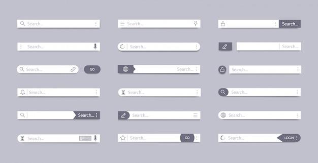 Barre de recherche. champ de recherche d'adresse, navigation dans l'interface utilisateur de la barre d'interface, concept web avec zones de texte d'onglet, jeu de symboles d'éléments de page de barre mobile. modèle de panneaux de recherche d'interface utilisateur de navigateur internet