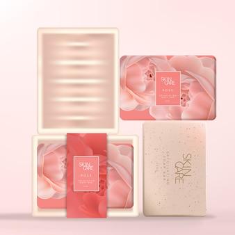 Barre de savon enveloppée de papier avec plat en céramique rose, emballage rose