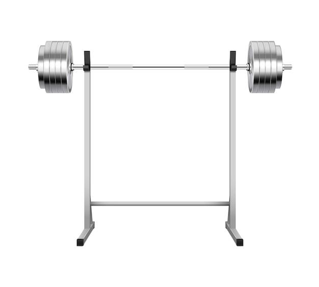 Barre de sport en métal sur rack