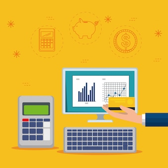 Barre de statistiques avec ordinateur et dataphone