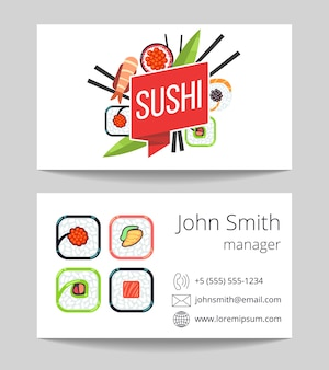 Barre de sushi japonaise carte de visite des deux côtés v