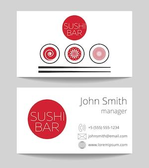 Barre à sushi japonaise carte de visite des deux côtés