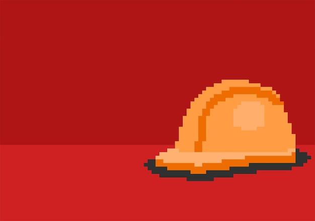 Barre de travailleur sur fond rouge avec style pixel art