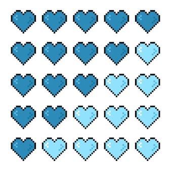 Barre de vie de coeur de santé de contrôleur de jeu de pixel