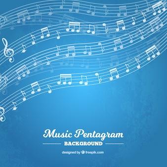 Barres bleues avec des notes de musique