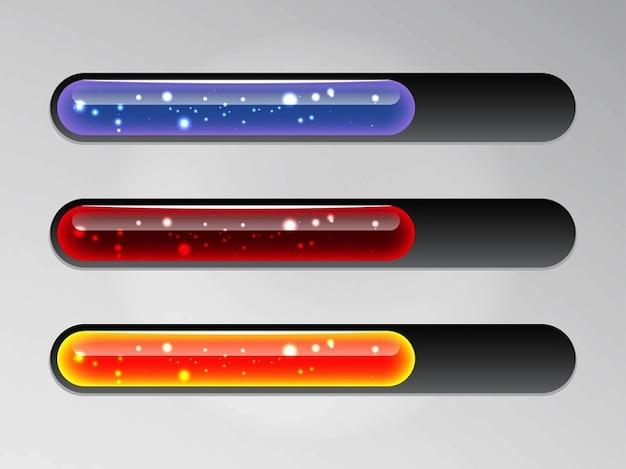 Barres de chargement brillants graphiques vectoriels