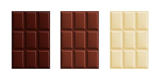 Barres de chocolat au lait, noir et blanc
