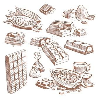 Barres de chocolat sucrées dessinées à la main, bonbons au praliné et fèves de cacao