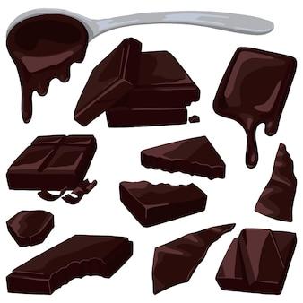 Barres, morceaux, copeaux de chocolat. ensemble coloré de chocolat. illustrations vectorielles dessinées à la main. clipart réalistes isolés sur blanc. dessin volumétrique pour la conception.