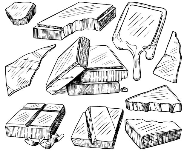 Barres, morceaux, copeaux de chocolat. ensemble de contour de chocolat. illustrations vectorielles dessinées à la main. clipart de style de gravure isolés sur blanc. dessin de croquis noir pour la conception.
