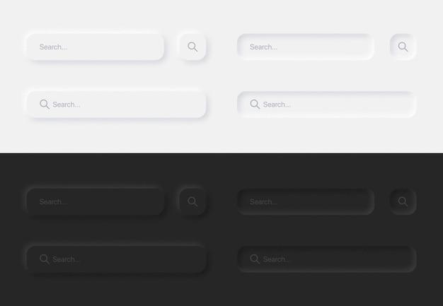Barres de recherche esthétique dans l'ensemble d'éléments de conception neumorphique de l'interface utilisateur de variations blanches et noires