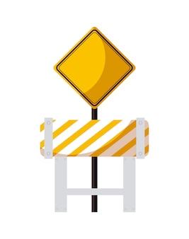 Barricade avec icône isolé de signalisation