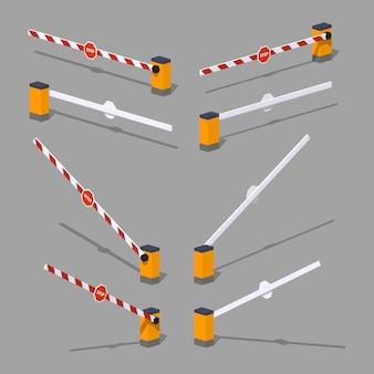 Barrière automatique isométrique 3d lowpoly avec panneau d'arrêt