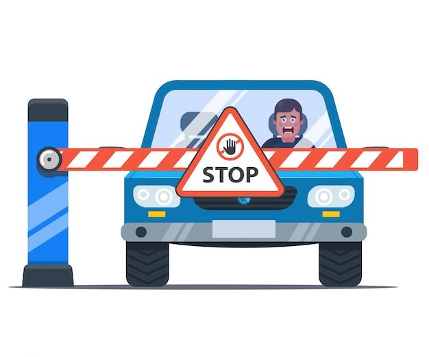 Une barrière bloque le chemin vers la voiture. pilote bouleversé. panneau stop. illustration plate.