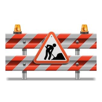 Barrière avec signe et balise