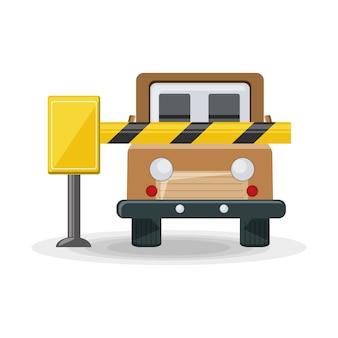 Barrière de stationnement et voiture suv offroad