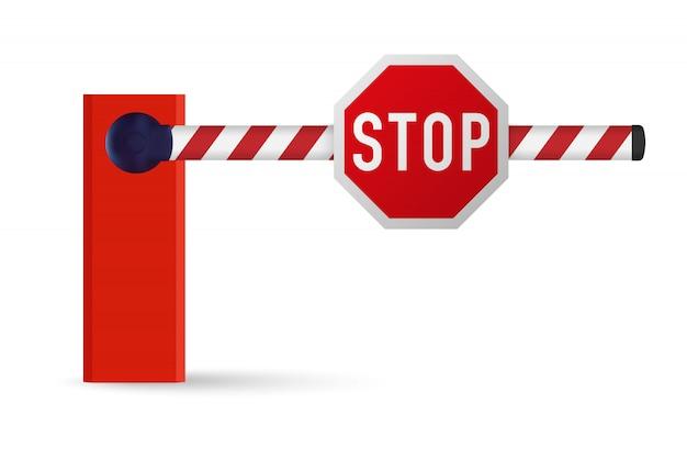 Barrière de voiture réaliste avec panneau d'arrêt.