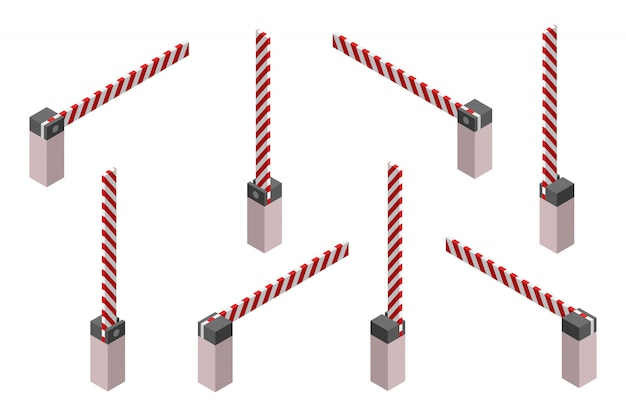 Barrière de voiture de stationnement dans un style isométrique.