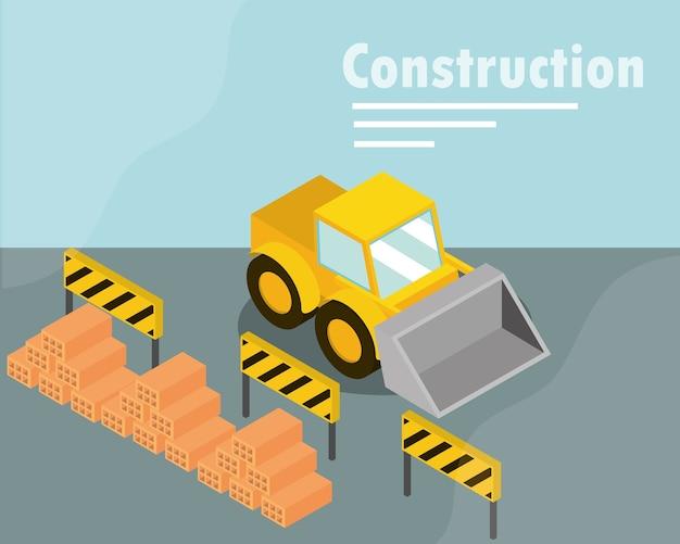 Barrières de bulldozer de construction et illustration isométrique de briques de pieux