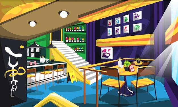 Bars lounge confortables avec de l'art artistique dans les murs