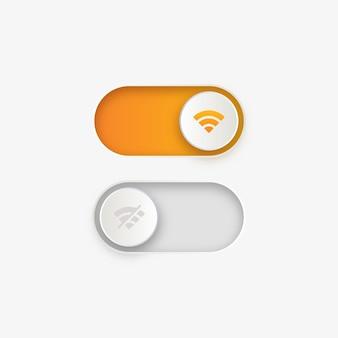 Basculer les boutons de l'interrupteur avec l'icône de signal internet wifi et désactiver le symbole de connexion