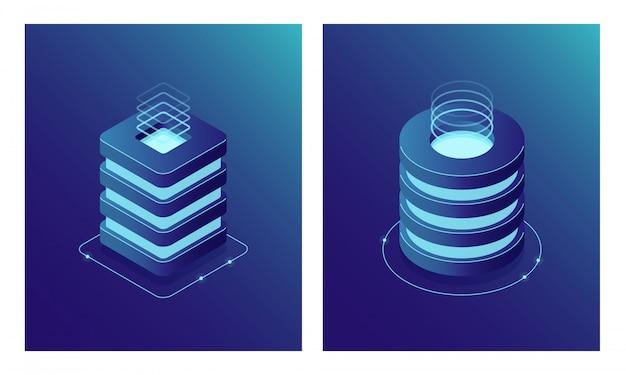 Base de données et centre de données isométriques, rack de salle de serveurs, cloud computing et stockage cloud de fichiers. icône de deux web