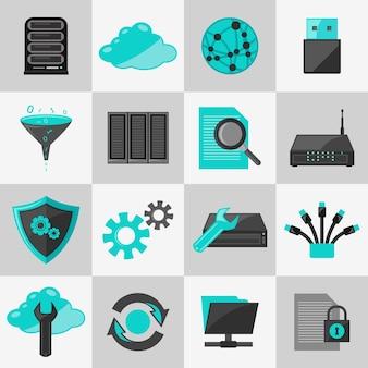 Base de données d'information, gestion de réseau, icônes, plat, jeu, isolé, vecteur, illustration