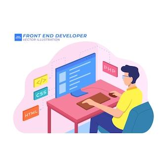 Base de données logicielle de programmeur d'illustration plate de développeur frontal
