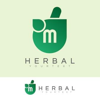 À base de plantes initiale lettre m logo design