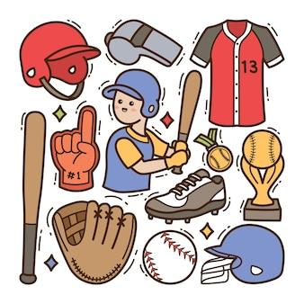 Baseball doodle illustration fond isolé