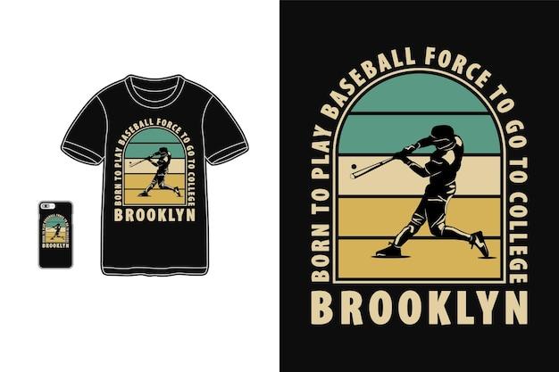 Baseball, Style Rétro Silhouette Design T-shirt Vecteur Premium