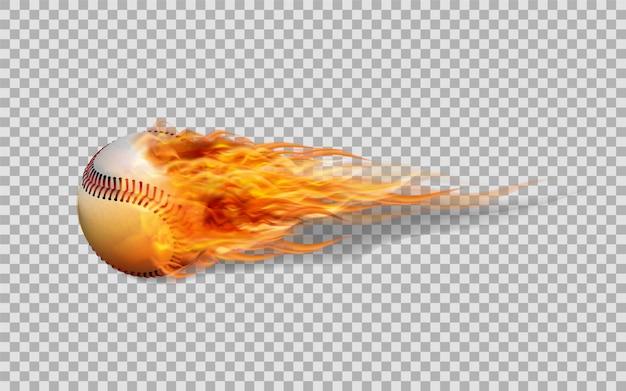 Baseball de vecteur réaliste en feu sur fond transparent.