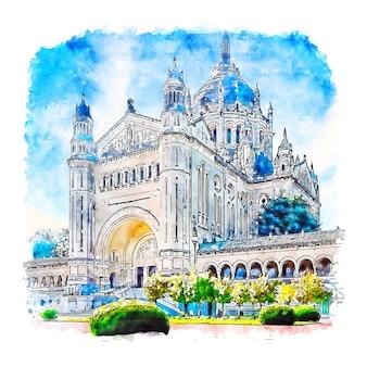 Basilique sainte normandie france aquarelle croquis illustration dessinée à la main