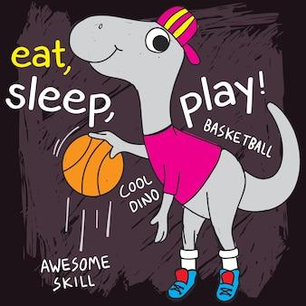 Basket-ball dino dessiné à la main pour t-shirt