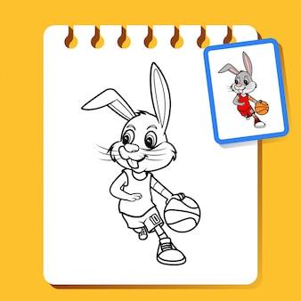 Basket-ball dribble de lapin, illustration de dessin au trait pour livre à colorier ou page