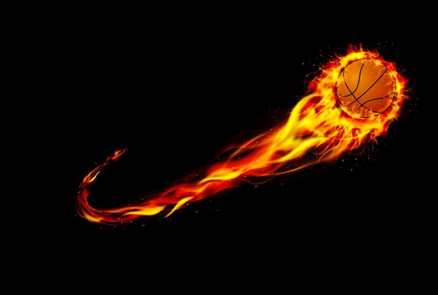 Basket-ball de feu avec fond noir
