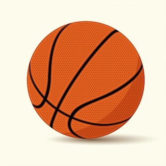 Basket-ball sur fond blanc, style cartoon,