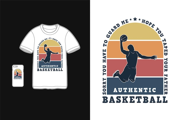 Basket-ball, maquette de t-shirt maquette de marchandise rétro