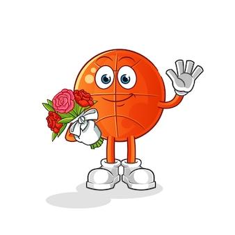 Basket-ball avec mascotte de bouquet. dessin animé