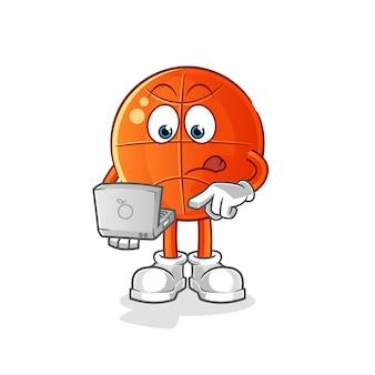 Basket-ball avec mascotte d'ordinateur portable.